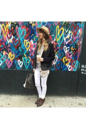 white jeans - navy jacket - beige Target cardigan