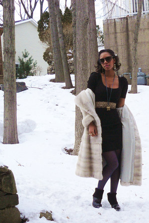 black platform DKNY boots - black leaopard belt H&amp;M dress - ivory fur mink vinta