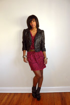 black ankle boots Steve Madden shoes - hot pink rachel rachel roy dress - black