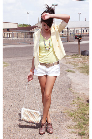 light yellow thrifted boys TFW blazer - thrifted purse - white abercrombie and f