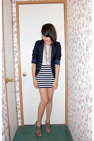 thrifted blazer - thrifted shirt - handmade skirt