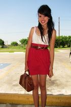 red skirt - white shirt - brown belt - brown purse