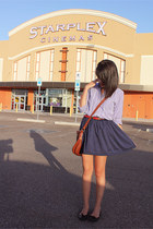 thrifted skirt - thrifted purse - Thrifted Coach belt - thrifted blouse