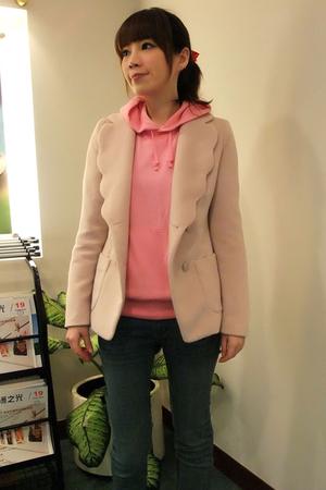 beige jacket - pink blazer