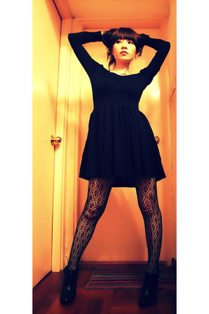 dress - stockings - H&M shoes