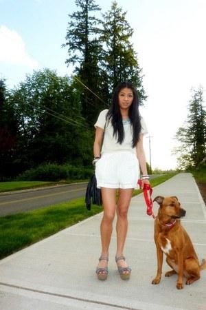 eyelet H&M shorts - cropped H&M top - platform big buddha sandals