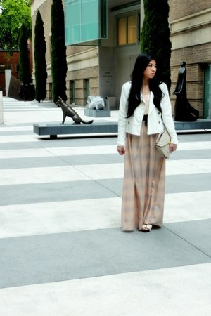 silk maxi Love 21 dress - white military Forever 21 jacket - wood Old Navy heels