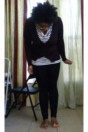 black H&M shirt - black Old Navy leggings - brown Old Navy cardigan
