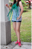 hot pink So FAB wedges - blue denim hello kitty shorts - green fringed DIY top