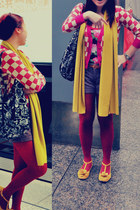 maroon Retro jacket - mustard Zara scarf - black Betsey Johnson bag