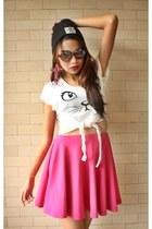 print shirt - round Ray Ban sunglasses - skater skirt skirt - beanie accessories