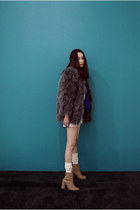 dark gray feathers FashionToAny jacket - camel boots H&M boots