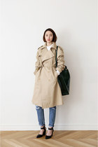 beige trench coat FashionToAny coat - black bag Celine bag