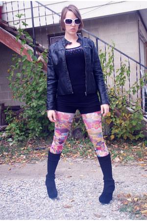 black leather jacket - black leggings - hot pink tights - black shorts