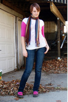 brown scarf - beige shirt - pink shirt - blue jeans - pink socks - brown shoes