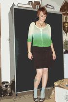 brown lia sophia necklace - brown shirt - green sweater - brown skirt - blue soc