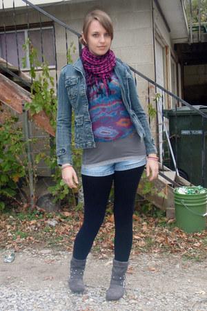 blue jean jacket - charcoal gray boots - black leggings - purple shirt