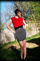 white pencil skirt - red shirt - black belt - black wedges