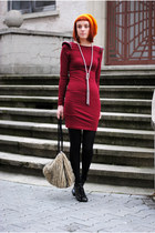 dark green boots - ruby red dress - orange H&M hat