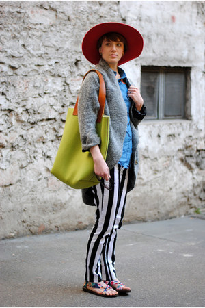 heather gray coat - hot pink hat - lime green bag