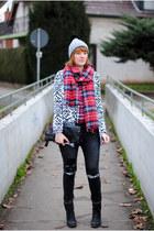 black Romwecom coat - black Oasapcom jeans - periwinkle Romwecom hat