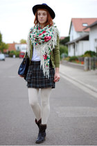 olive green jacket - white H&M tights