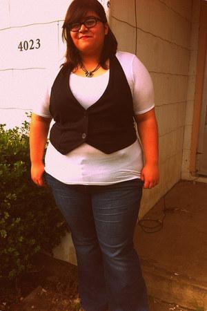 black vest - navy flared torrid jeans - white tissue Mossimo shirt - necklace