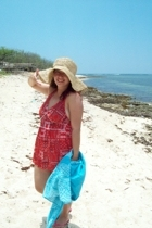 red and blue in a white beach