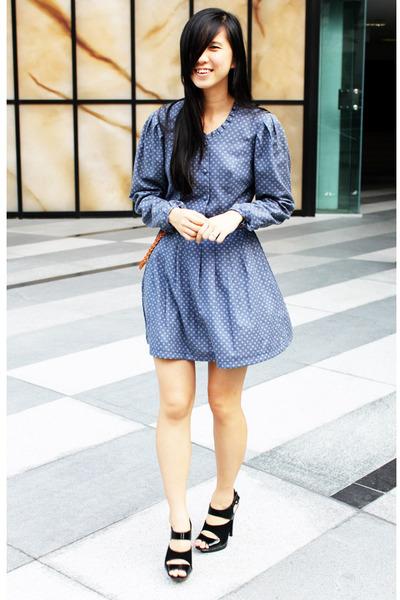 blue Laura Ashley dress - black Aldo shoes - brown nicolethen boutique belt