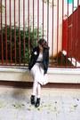 Ankle-boots-asos-boots-h-m-dress-black-bershka-blazer-asos-socks