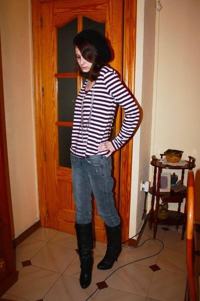 black Forever21 boots - gray jeans Zara jeans - black black knit hat H&M hat