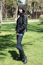 black Forever21 boots - navy Zara jeans - dark gray pixiebell hat