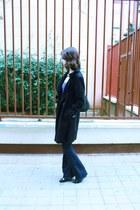 black H&M coat - asos boots - blue cotton asos dress