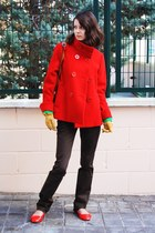 red coat H&M coat - brown pants Zara pants - red flats asos flats