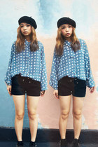 black beret H&M hat - sky blue patten shirt Tasty shirt