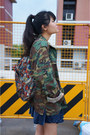 Dark-green-army-jacket-borrowed-jacket-white-stay-ugly-tee-shop-acid-shirt