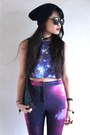 Navy-navy-beanie-daiso-hat-amethyst-cosmic-pants-the-editors-market-pants