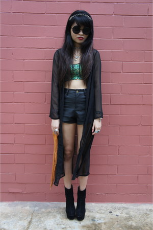 light orange thrifted vintage bag - black leather shorts Editors Market shorts