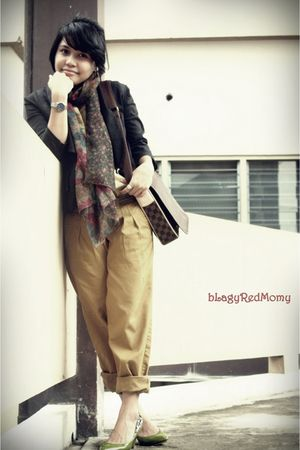 blazer - blouse - Louis Vuitton bag - pants - scarf