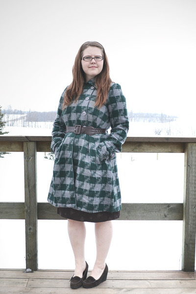 dark brown RW&Co dress - dark green modcloth coat - dark brown borrowed belt - d
