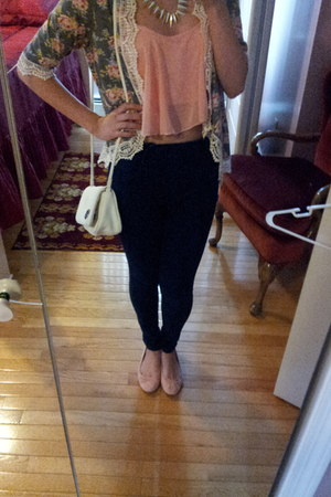 floral crochet Forever 21 cardigan - white Aldo purse - Charlotte Russe necklace