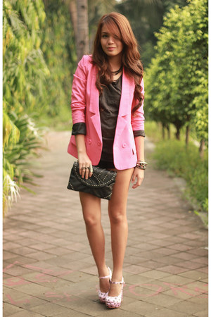 bubble gum Five By Five heels - hot pink lookbookstore blazer