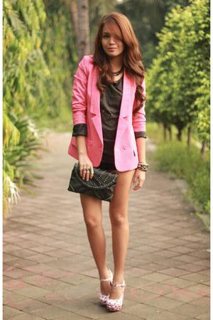 bubble gum Five By Five heels - hot pink lookbookstore blazer