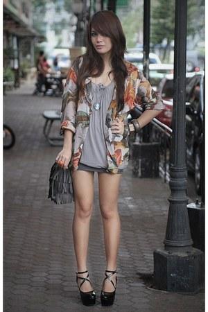 black wholesaledress-net heels - silver Forever21 dress - orange Forever21 ring