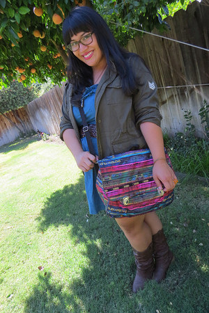 magenta LeSportSac bag - dark brown charles albert boots - teal BeBop dress