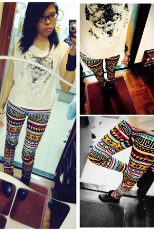 white shirt Oh My Love top - tribal prints H&M jeans