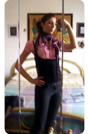 Topshop on eBay scarf - flea market blouse - trift shop - Bershka jeans