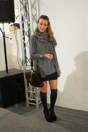 H&M scarf - H&M sweater - Zara skirt - Calzedonia stockings - Chanel purse