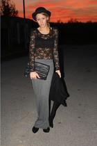 H&M top - Stefanel bra - H&M skirt - Topshop cardigan - vintage hat - Zara purse