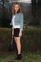 Sisley jacket - Zara t-shirt - H&M skirt - Zara purse - Zara boots